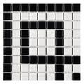 SomerTile 8 x 8-inch Victorian Greek Key Matte White and Black Corner Porcelain Mosaic Tile (Pack of 4)