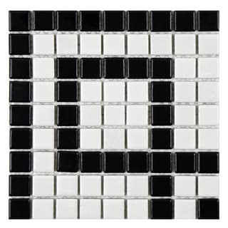 SomerTile 8x8-inch Victorian Greek Key Matte White and Black Corner Porcelain Mosaic Floor and Wall Tile (Case of 4)