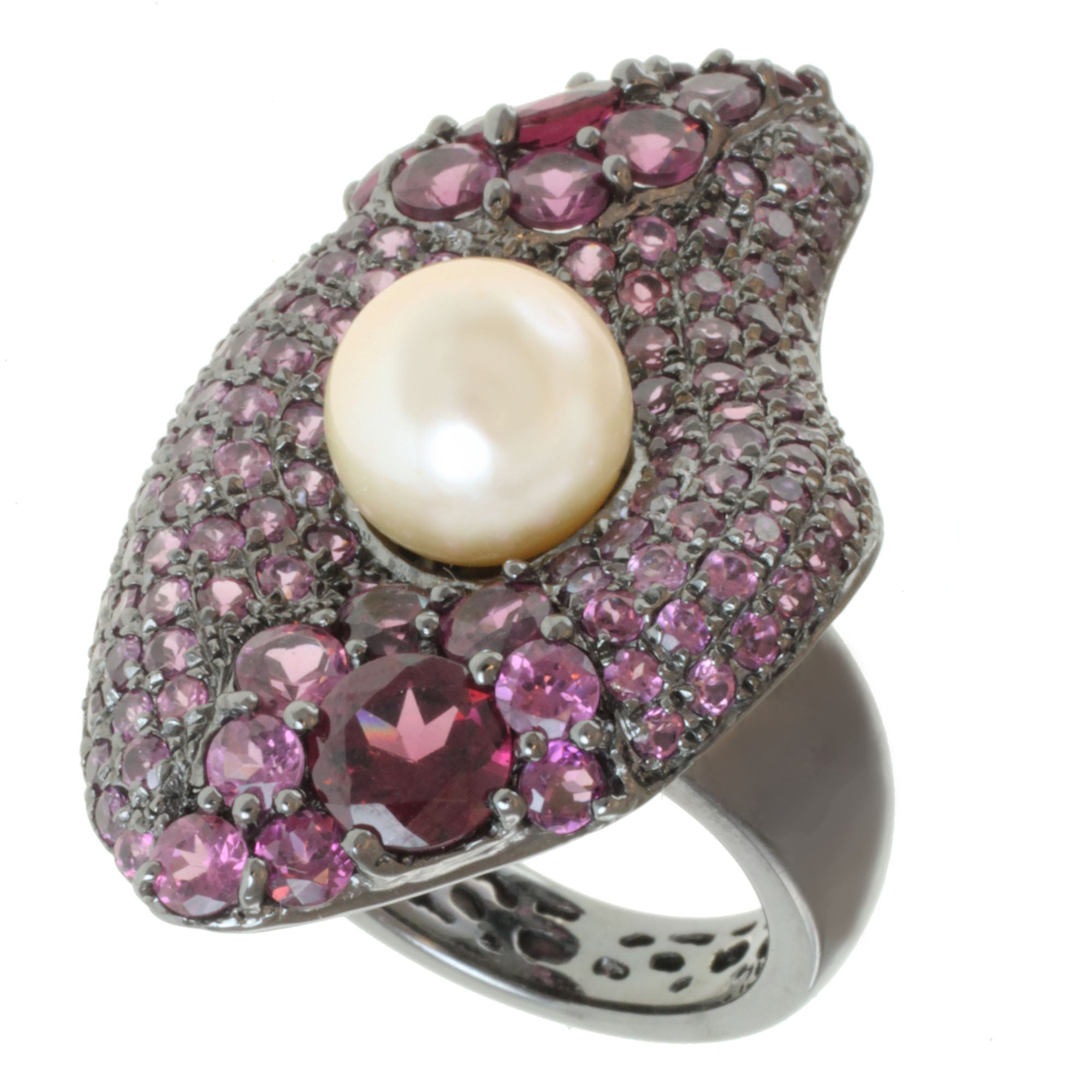 Michael Valitutti Sterling Silver FW Pearl and Rhodolite Ring (9 mm)