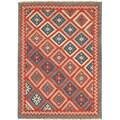 Handmade Flatweave Tribal Pattern Multi-colored Wool Rug (5' x 8')