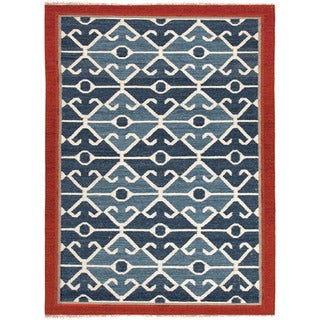 Handmade Flatweave Tribal Pattern Multi-colored Wool Rug (5' x 8')