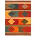 Handmade Flatweave Tribal Pattern Multi-colored Wool Area Rug (5' x 8')