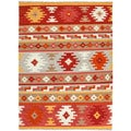 Handmade Flatweave Tribal Pattern Multi-colored Wool Rug (8' x 10')