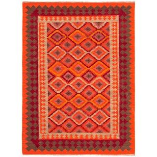 Handmade Flat Weave Tribal Pattern Multi Color Rug (8' x 10')