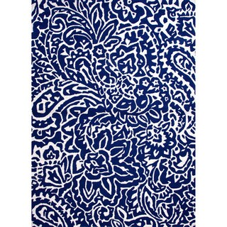 Hand-hooked Indoor/ Outdoor Abstract Pattern Blue Rug (9' x 12')