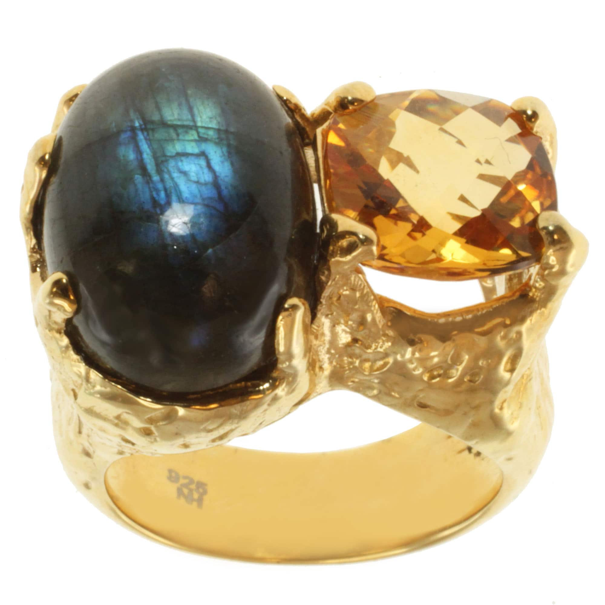 Michael Valitutti Gold over Silver Labradorite and Citrine Ring