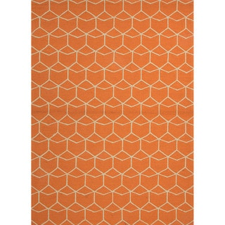 Hand-hooked Indoor/ Outdoor Abstract Red/ Orange Rug (9' x 12')