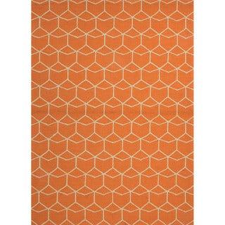 Hand-hooked Indoor/Outdoor Abstract Red/Orange Polypropylene Rug (7'6 x 9'6)