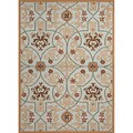 Hand-hooked Indoor/ Outdoor Abstract Pattern Blue Rug (5' x 7'6)