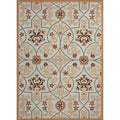 Hand-Hooked Indoor/Outdoor Abstract-Pattern Blue Polypropylene Rug (7'6