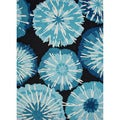 "Durable Hand-Hooked Indoor/Outdoor Abstract-Pattern Blue Rug (7'6"" x 9'6"")"
