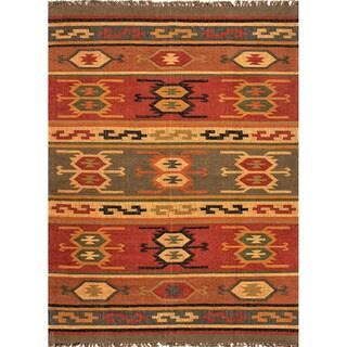 Handmade Flatweave Tribal Pattern Reversible Multi-Colored Rug (2' x 3')