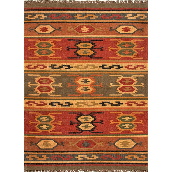 Handmade Flatweave Tribal Pattern Reversible Multi-Colored Rug (2' x 3')
