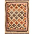 Handmade Flatweave Tribal Pattern Multicolored Jute Rug (5' x 8')
