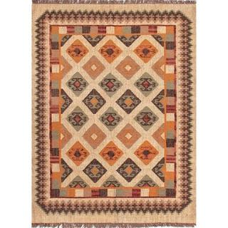 Handmade Flat-Weave Tribal-Pattern Multicolored Reversible Rug (8' x 10')