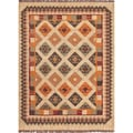 Handmade Flat-Weave Tribal-Pattern Multicolored Reversible Rug (8' x 10')