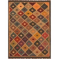 Handmade Flat-Weave Tribal-Pattern Multicolored Jute Rug (4' x 6')