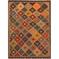 Handmade Flatweave Tribal Pattern Multi-colored Area Rug (5' x 8')