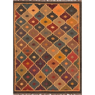 Handmade Flatweave Tribal Pattern Multi-Colored Wool-and-Jute Rug (2' x 3')