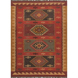 Handmade Flat-Weave Tribal-Pattern Multicolored Area Rug (8' x 10')
