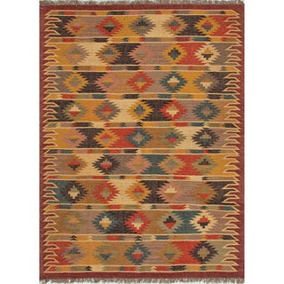 Handmade Flatweave Tribal Pattern Multi-colored Rug (5' x 8')