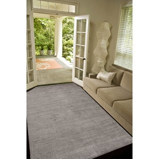 Hand-loomed Solid Pattern Grey/ Black Rug (9' x 12')