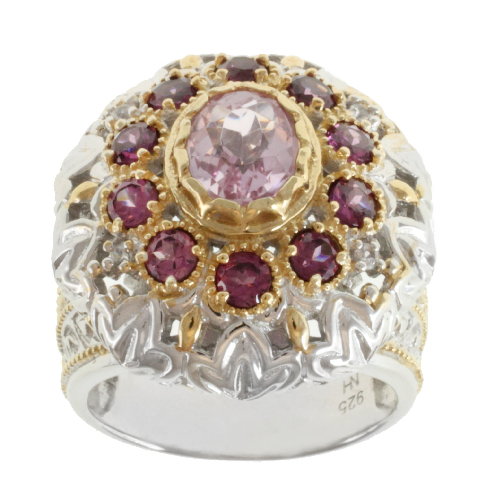 Michael Valitutti Two-tone Kunzite, Rhodolite and White Sapphire Ring