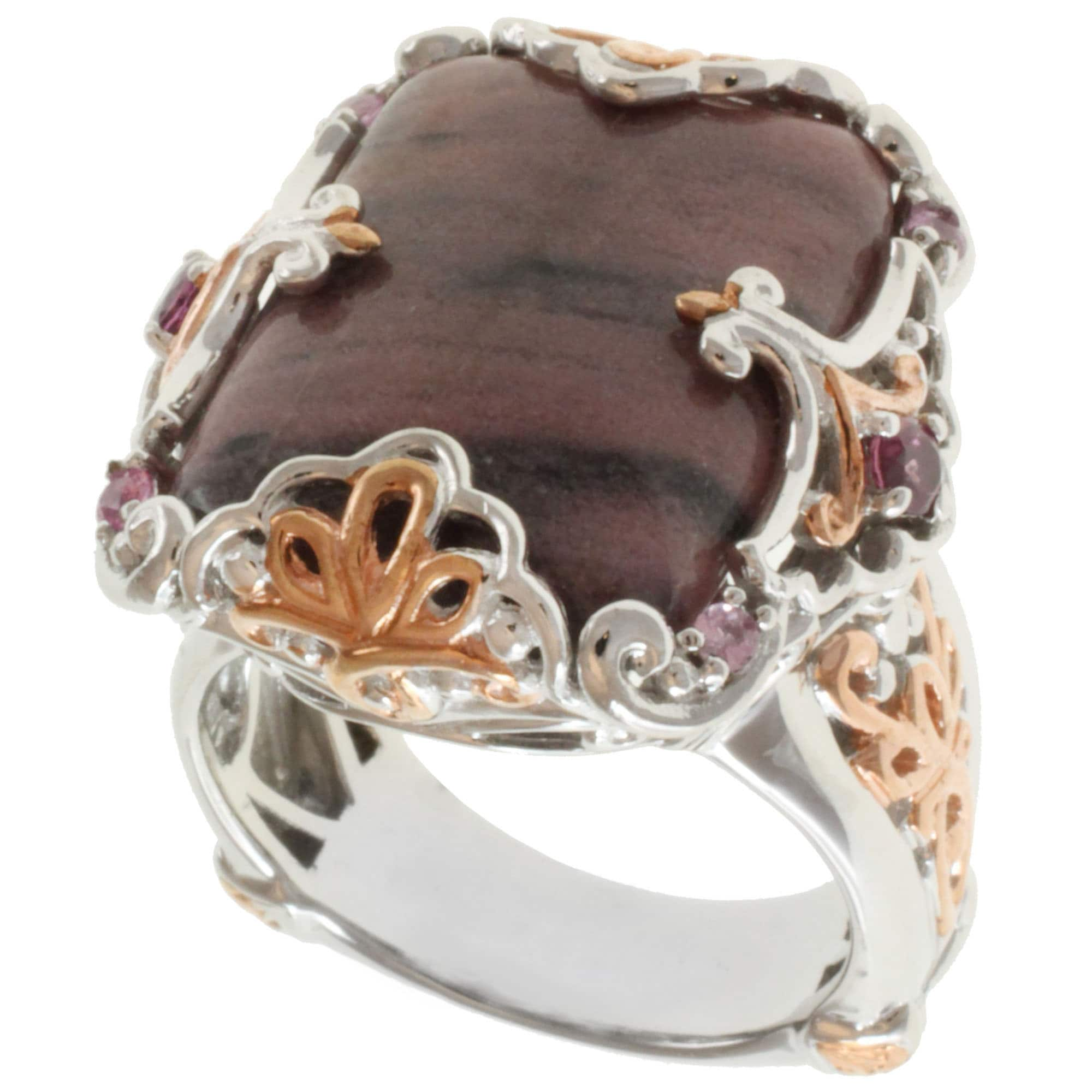 Michael Valitutti Two-tone Rhodonite, Rhodolite and Pink Sapphire Ring