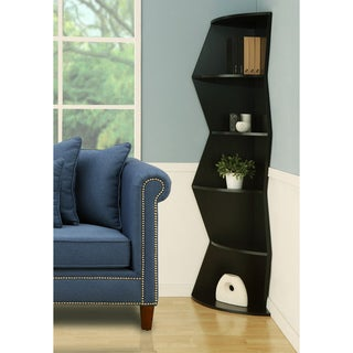 'Hamner' 75-inch Black 5-tier Corner Bookcase