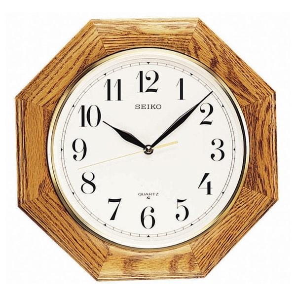 Seiko Brown Oak Case White Face Wall Clock