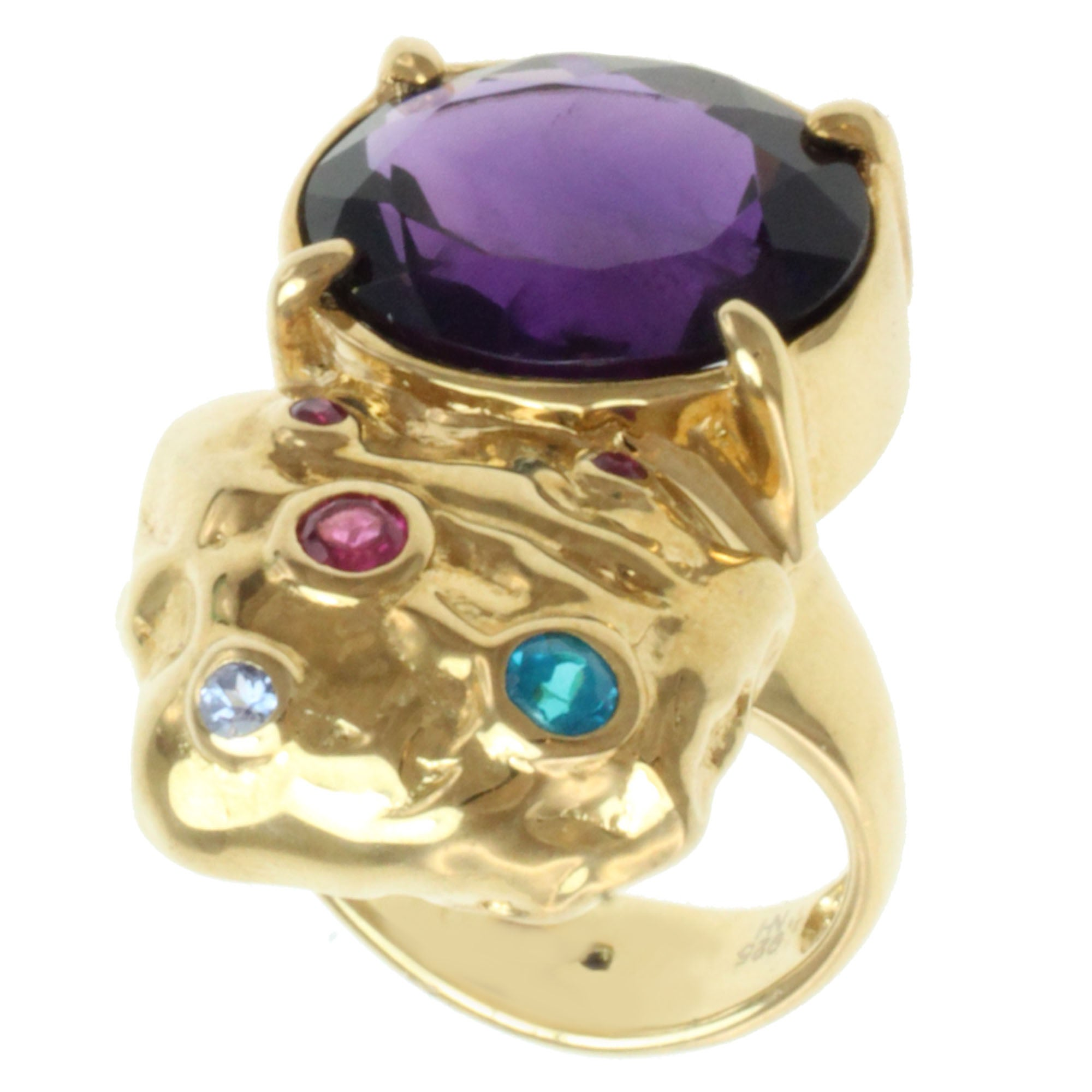 Michael Valitutti Gold-over-Silver Oval-cut Multi-gemstone Ring