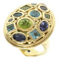 Michael Valitutti Gold over Silver Multi-gemstone Ring