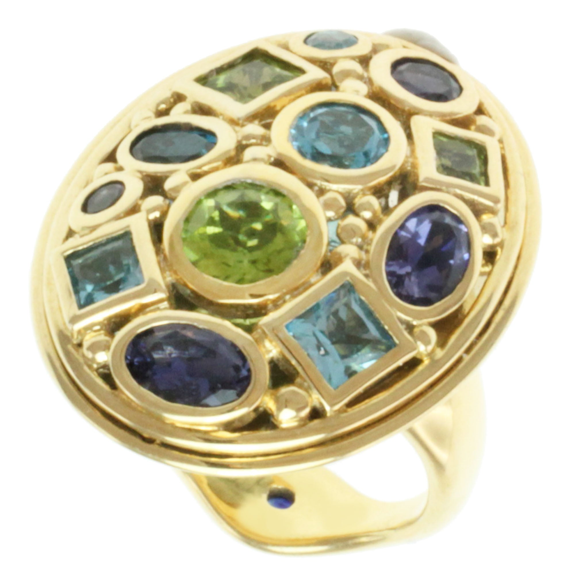 Michael Valitutti Gold-over-Silver Round-cut Multi-gemstone Ring