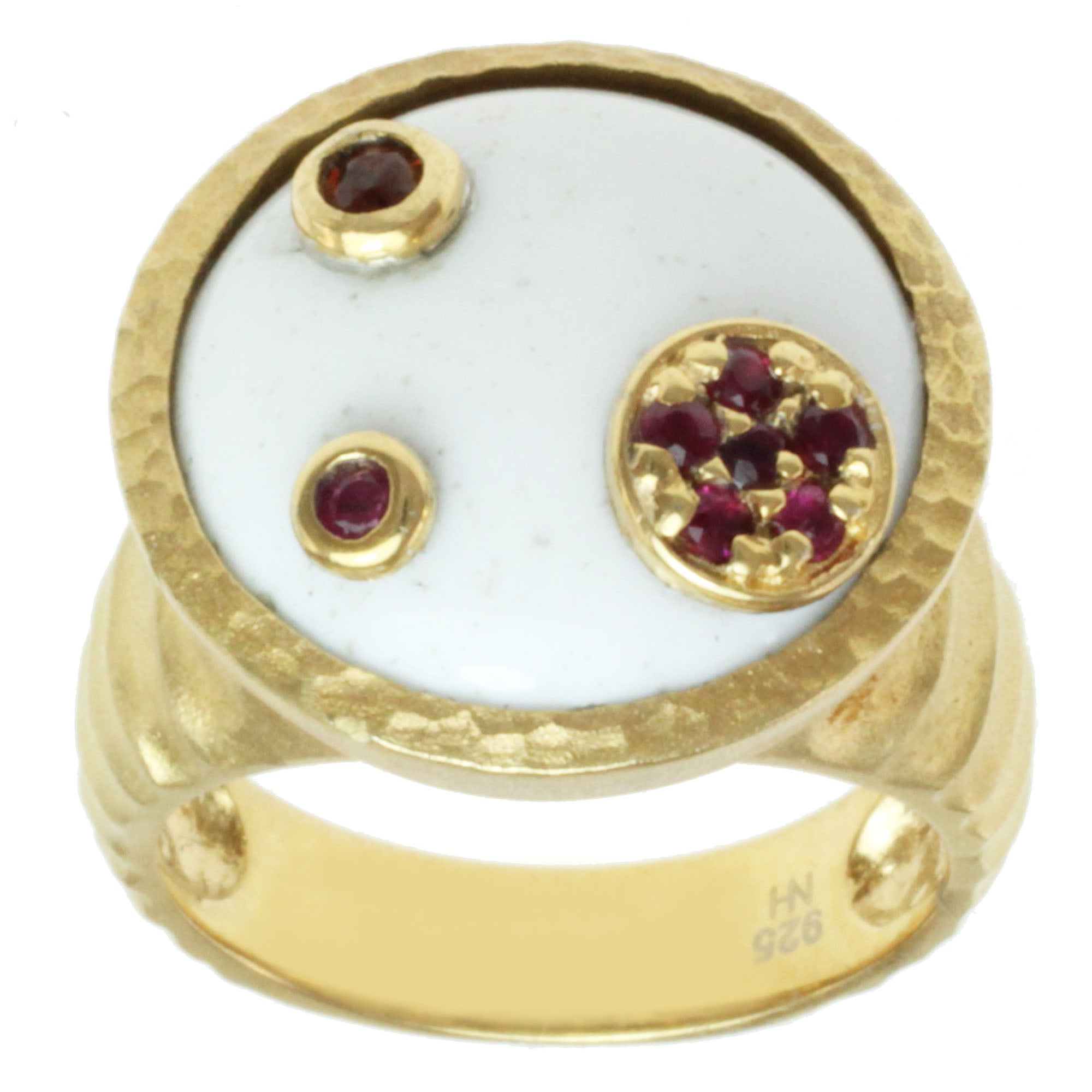 Michael Valitutti Gold over Silver White Agate, Garnet and Ruby Ring