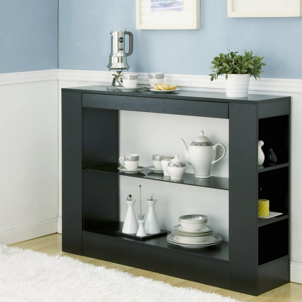 Furniture of America Khanelle Black Multi-storage Tempered Glass Dining Buffet Table