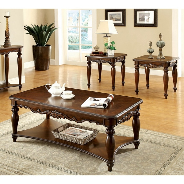 Furniture of america 39 macelli 39 3 piece cherry finished traditional coffee end table set Traditional coffee tables and end tables