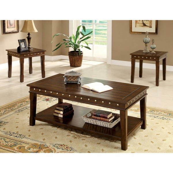Furniture Of America 39 Theresa 39 3 Piece Rustic Nailhead Trim Coffee End Table Set 15467326