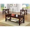 Furniture of America 'Lolla' 3-piece Dark Cherry Transitional X-Shape Coffee/ End Table Set