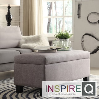INSPIRE Q Sauganash Grey Linen Lift Top Storage Bench