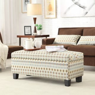 Kayla Geometric Fabric Storage Bench Ottoman
