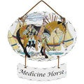 Joan Baker 'Medicine Horse' Glass Art Panel
