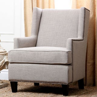 Abbyson Living Lorena Fabric Nailhead Trim Natural Armchair