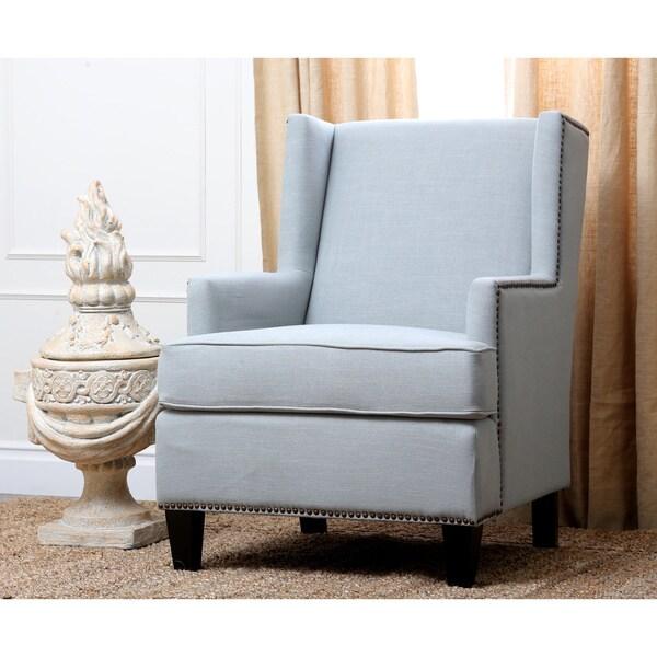 Abbyson living lorena fabric nailhead trim light blue armchair