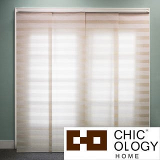 Basket Natural Beige Double Rail Sliding Window Panels