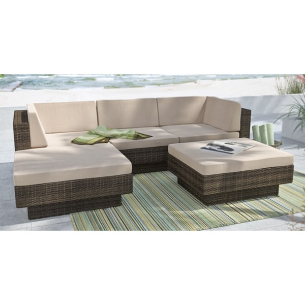 Sonax Park Terrace Saddle Strap 5-piece Double Armrest Sectional Patio Set 11328324