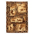 Moose, Deer and Eagle Brown Lodge Area Rug (5' x 7')