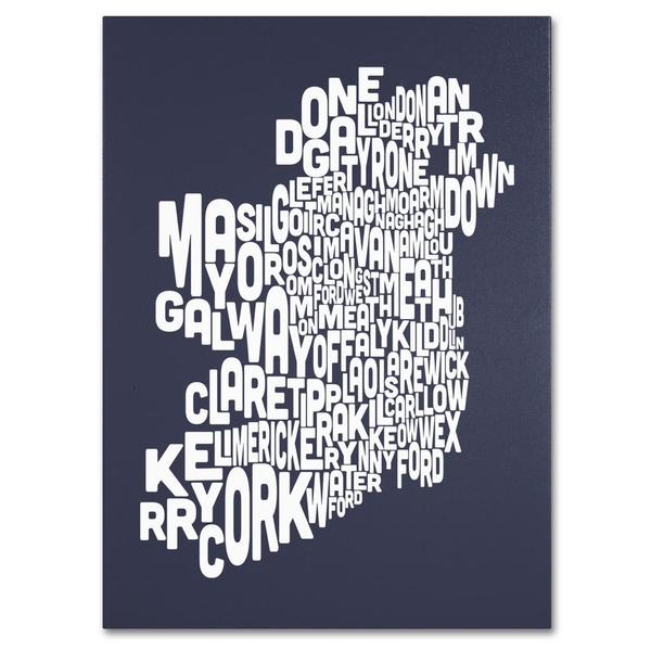 Michael Tompsett 'Ireland Text Map in Slate' Canvas Art