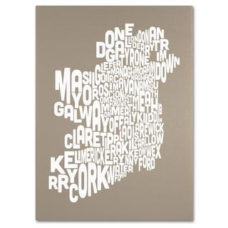 Michael Tompsett 'Ireland Text Map in Taupe' Canvas Art