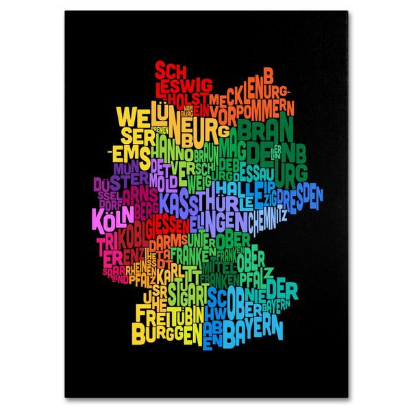 Michael Tompsett 'Germany Region Text Map 3' Canvas Art