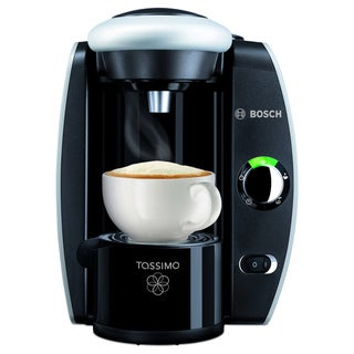 Bosch Tassimo T45 Silver and Black Coffee Brewer with Gevalia Coffee Case